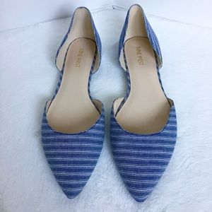 Nine West D'Orsay Striped Chambray Pointy Flats